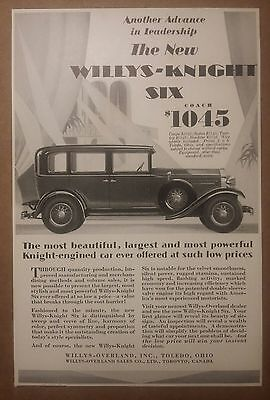1929 New Willys Knight Six Coach Automobile Ad Toledo, Ohio