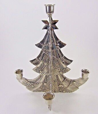 "Godinger silver-plate Christmas Tree 5 light Candle Holder Advent 12"" tall Heavy"
