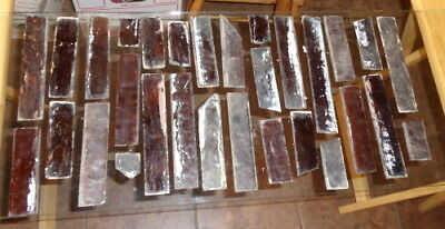 Lot of Antique Amber Stained Glass