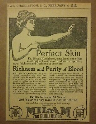 1912 Milam For Good Blood Ad Perfect Skin
