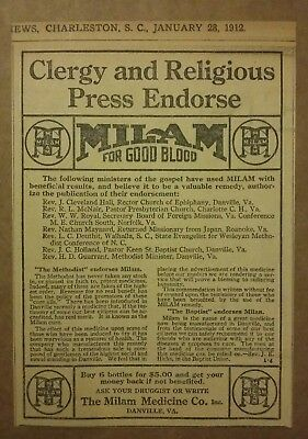 1912 Milam For Good Blood Ad Clergy & Religious Press Endorse