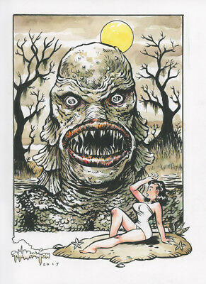 CREATURE AND KAY original color art by Steve Mannion FEARLESS DAWN!