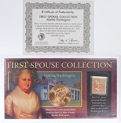 Martha Washington Bronze Metal & Stamp First Wive's Collection Morgan Mint Coin