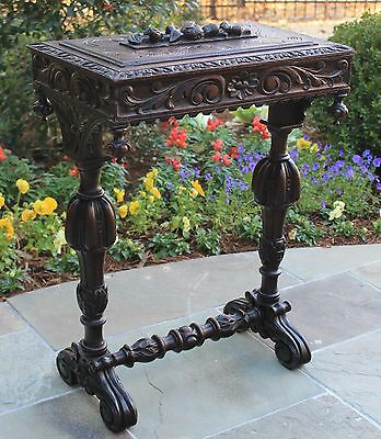 Antique French Oak Black Forest Hand Carved Lift Top Sewing Box Jewelry Chest