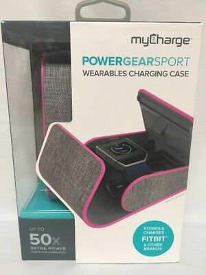 MyCharge Power Gear Sport Wearables Charging Case Pink Grey Fitbit USB