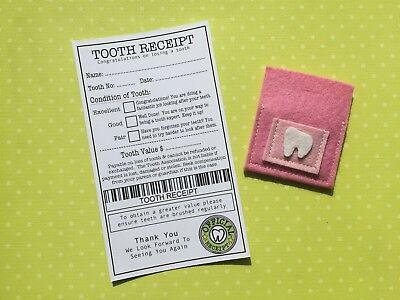 Tooth Fairy Pouch & Tooth Receipt - Handmade - Fairy Door Accessories  - Pink