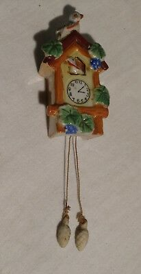 VINTAGE CUCKOO CLOCK WALL POCKET - 2 BLUE BIRDS with WEIGHTS - JAPAN