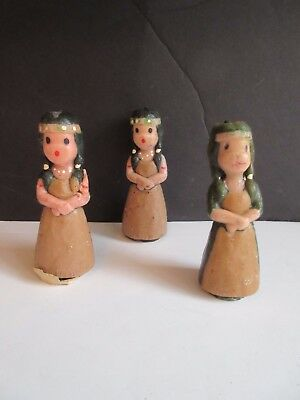 Vtg Gurley Thanksgiving Candles Native American Maidens Set of 3