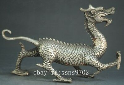 Chinese antique hand engraving Tibet silver dragon statue