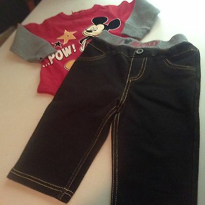 Mickey Mouse Bodysuit And  Mickey Jeans 6-9 Months