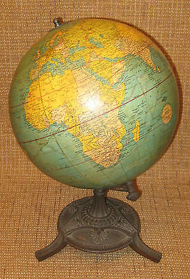 "c1930s 12"" Weber Costello Terrestrial Table Globe - Uncommon Gore & Stand"
