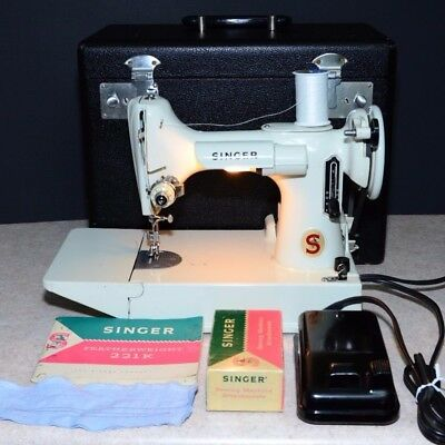 Vintage Singer Featherweight 221K White Portable Electric Sewing Machine w/ Case