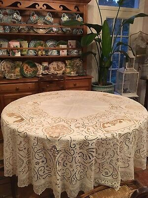 Antique Figural Needle Lace & Embroidery Banquet Round Tablecloth 85""