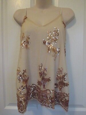 NWT - LDLA women's nude color sequined cami top - sz L - MSRP $48.00