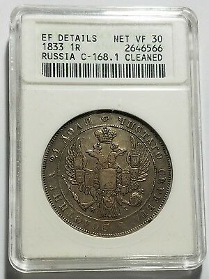 1833 Russia 1 Rouble Silver Coin Nicholas I Old Anacs Holder  C-168.1