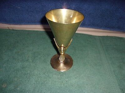 Brass Humming Bird / Silverplate  Goblet Drinking Cup  6 1/4 Inches