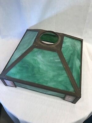 ANTIQUE MISSION Arts & Crafts GLASS  LAMP SHADE GREEN SLAG GLASS AS IS