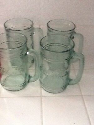 "4 Vintage Coke -Coca Cola Glass Mugs With Handles Green Tinted Glasses 5 1/2"" T"
