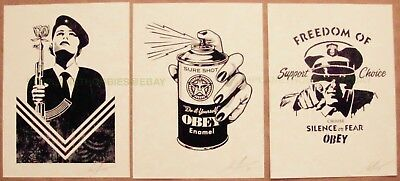 """Obey Giant """"damaged"""" (3) Letterpress Prints By Shepard Fairey Signed Peace Guard"""