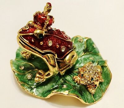 Chinese Cloisonne Handwork Carved Frog Statue / Jewelry Box