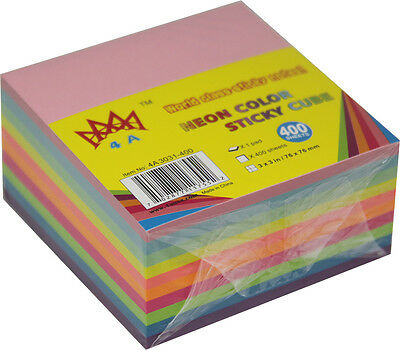 4A Sticky Note Cube 3x3 inches- Neon Assorted Color-400 sheets/pad (4A 3031) NEW
