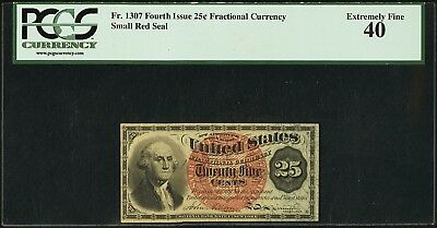 Fr. 1307 25¢ Fourth Issue, Fractional Currency, PCGS Extremely Fine 40, Pinholes