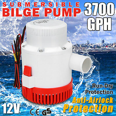 3700GPH Submersible Bilge Water Pump Caravan Camping Marine Fishing Boat 12V