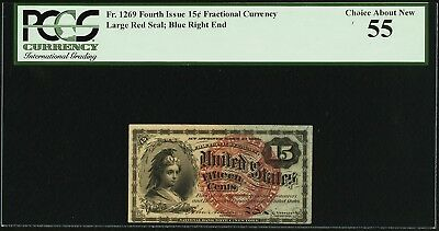 Fr. 1269 15¢ Fourth Issue, Fractional Currency, PCGS Choice About New 55