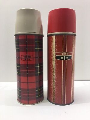 Vintage 1969 & 1973 King-Seeley Thermos Red Tartan Plaid Red and Blackk Striped