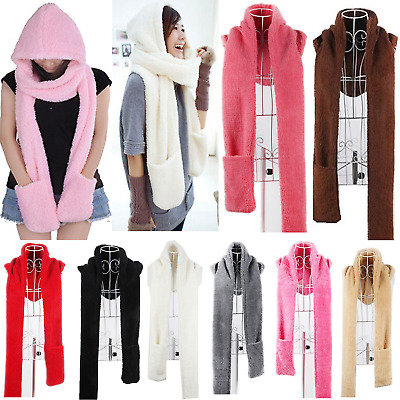 3 in 1 Women Girls Winter Warm Plush Long Hooded Hat Scarves Gloves Cap Set Gift
