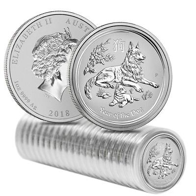 Roll of 20:  2018 1 oz Silver Lunar Year of The Dog | Perth Mint | mint capsules
