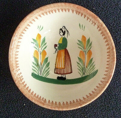 Vintage Faienceries Quimper Pottery Small 11 cm Bowl  Decorative French Rustic
