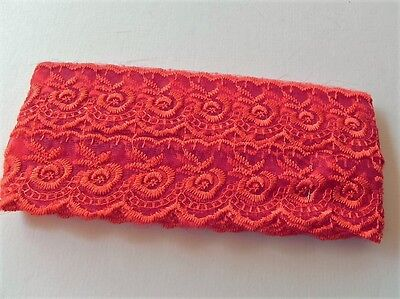 New Card of Silky embroidered Lace - Red 4cm
