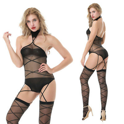 Womens-Sexy-Lingerie-Halter-Body stockings-Dress-Underwear-Club-COSPLAY-Babydoll