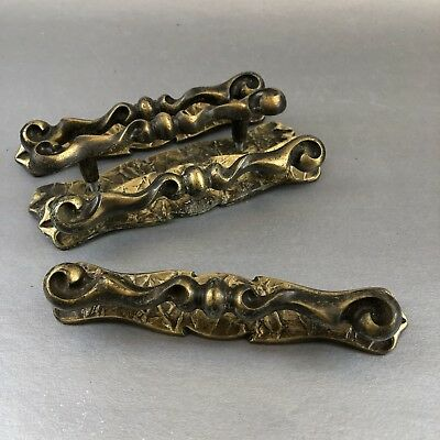 Lot Of 4 Vintage Amerock Brass Cabinet Door Drawer Handles Pulls Hardware Knobs