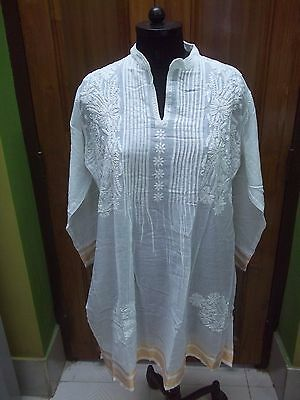 Malmal 100%cotton 2Xl 46 Ethnic Chikan Embroidery Kurti Top Kurta Handmade Tunic