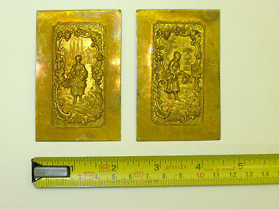 PAIR of Repoussé/Pressed/Embossed BRASS DECORATIVE Carriage clock side panels??