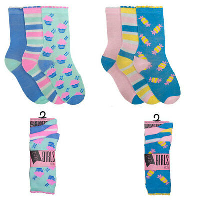 x3 Pack Socks Candy Multi Style Girls Stripes Sweets 3 Pairs Gift Ladies