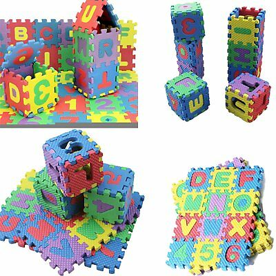 Baby Kids Home EVA Foam Play Mat Alphabet Number Puzzle Jigsaw Pad Toy 36Pc/Pack