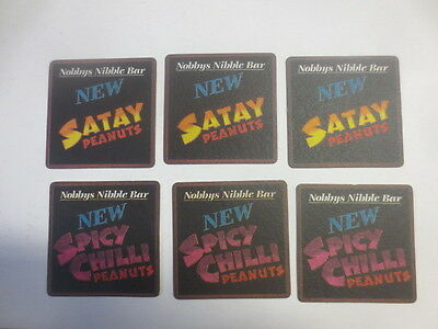 "3 each x NOBBYS NIBBLE BAR ""spicy chilli peanuts / satay peanuts "" COASTERS"