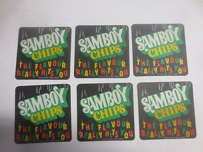 "6 x SAMBOY POTATO CHIPS collectable COASTERS ""the flavour really hits you"""