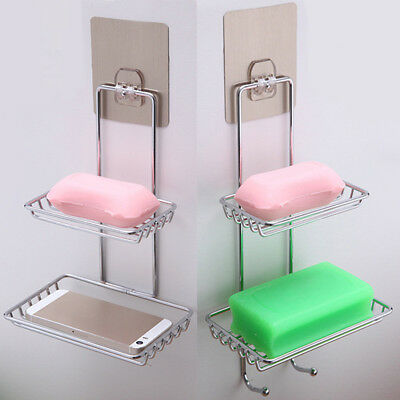 Wall Mount Soap Dish Tray Container Box Holder Storage Bathroom Shower Basket