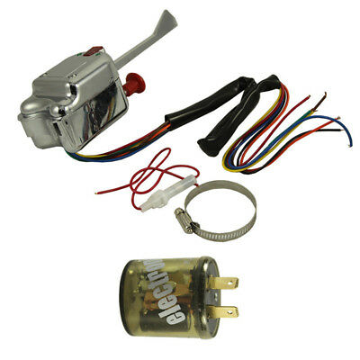 Universal 12V Chrome Street Hot Rod Turn Signal Switch For:GM FORD Buick+Flasher