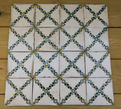 Seventeen Beautiful French Antique Hand Painted Tiles