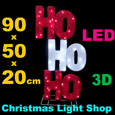 LED HO HOHO Red White Tinsel 3D Sign 90cm In or Outdoor Christmas Light Display