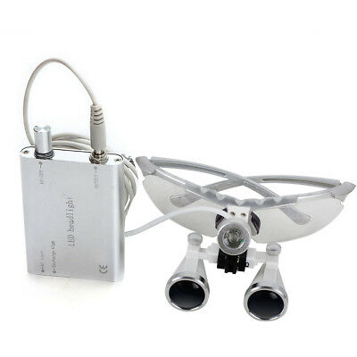 silver 3.5X headband Dental Binocular Loupes Surgical magnifer w Head Light Lamp