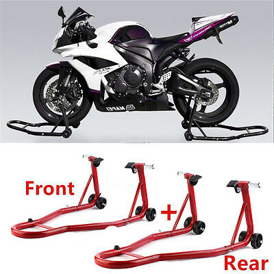 Motorbike Front Head & Rear Motorcycle Bike Paddock Stand Stands Hook Combo SL