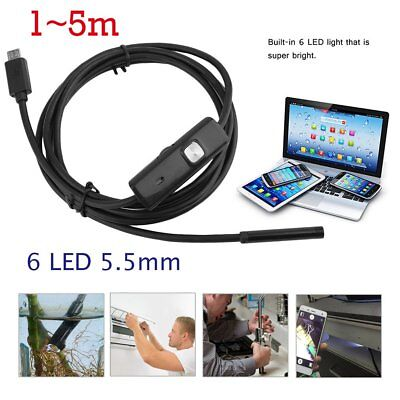 Waterproof 5.5mm 6LED Android Endoscope Borescope Snake Inspection Camera FS