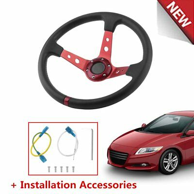 Red Deep Dish Drifting/track Car Steering Wheel Race/sports/drift/ Pu Leather F