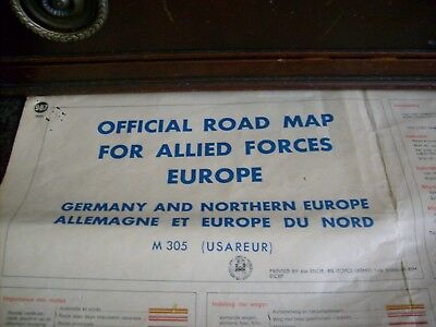 Vintage Large Official Road Map For Allied Forces Europe
